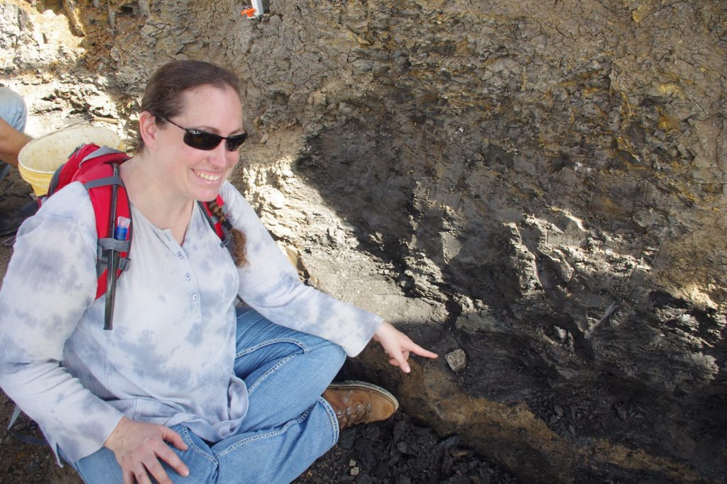 Stephanie at the Arlington Archosaur Site.